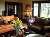 Colorful living room on a rainy day