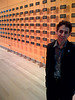 Jacob Harris in front of installation art in NY Times lobby