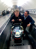 Scoble & son on escalator