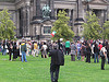 Iranian demo on lawn in front of Berliner Dom