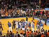 The Knicks huddle
