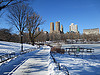 Snowy cold Central Park path